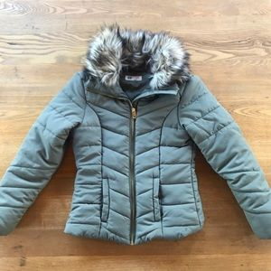 Girls Olive Green Puffer Jacket - Size 10-11years
